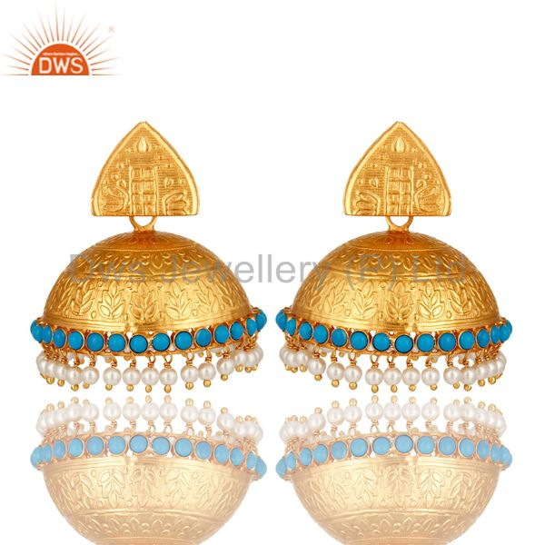 18K Gold Over Sterling Silver Turquoise And Pearl South Indian Temple Earrings