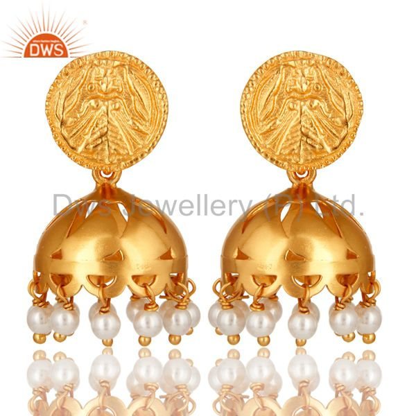 18K Gold Plated Sterling Silver Natural Pearl Jhumka Traditional Earrings