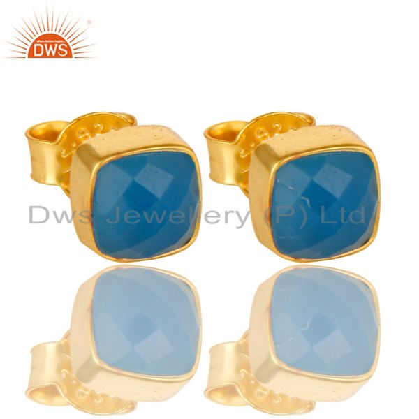 18K Yellow Gold Plated Sterling Silver Dyed Blue Chalcedony Stud Earrings