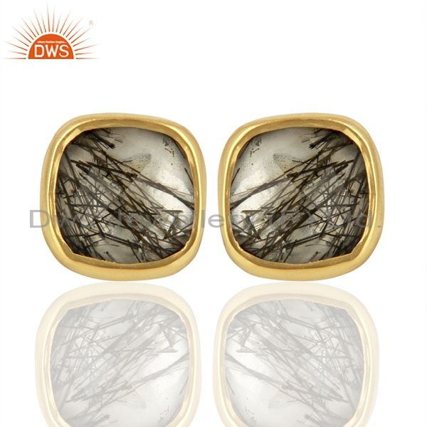 18K Yellow Gold Plated Sterling Silver Rutilated Quartz Stud Earrings Rutile
