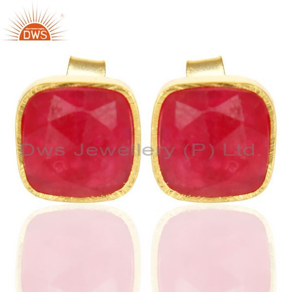 Natural Deep Red Aventurine Cushion Rose Cut Small 14 K gold Plated Stud Earring