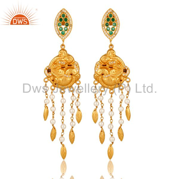 14K Gold Plated Sterling Silver Emerald And Pearl Beaded Chandelier Earrings