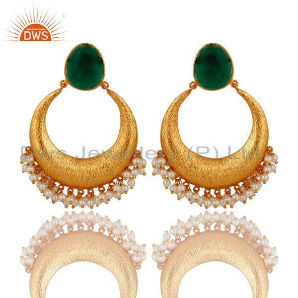 18K Yellow Gold Plated Sterling Silver Green Onyx & Pearl Ethnic Desgin Earrings