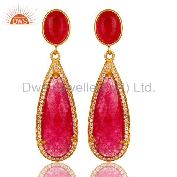 18K Yellow Gold Plated Sterling Silver Red Aventurine Drop Earrings With CZ