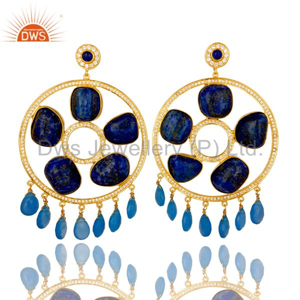 18K Gold Plated Sterling Silver Lapis Lazuli And Chalcedony Chandelier Earrings
