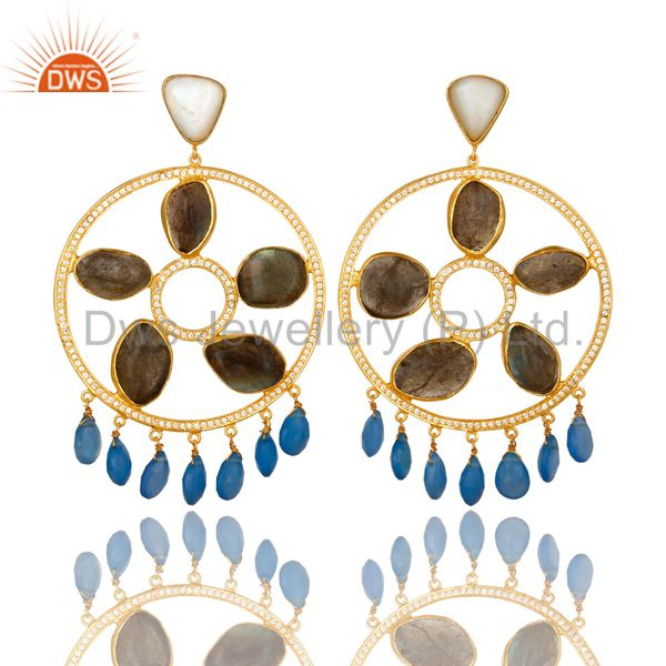 22K Gold Plated Sterling Silver Labradorite And Chalcedony Chandelier Earrings