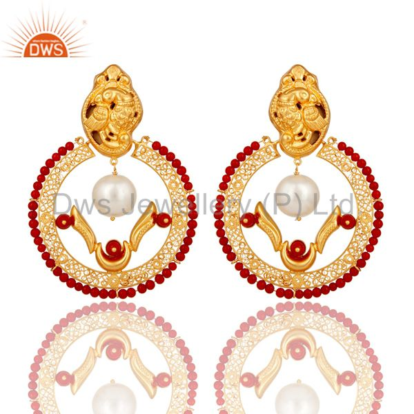 18K Yellow Gold Plated Sterling Silver Coral and Pearl Traditional Earring