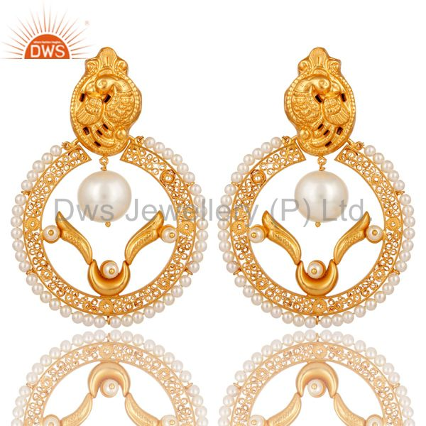 18K Yellow Gold Plated Sterling Silver White Pearl Beaded Traditional Earring