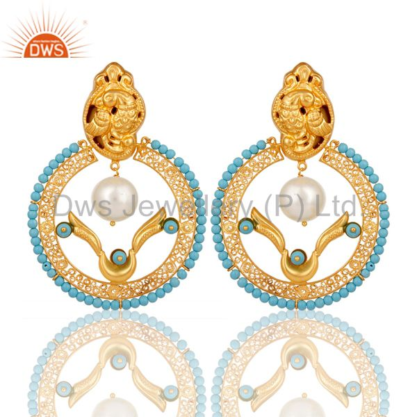 18K Yellow Gold Plated Sterling Silver Turquoise and Pearl Traditional Earring