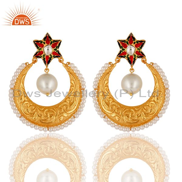 Pearl and Crystal Quartz Textured Gold Plated Silver Enamel Stud Drop Earring