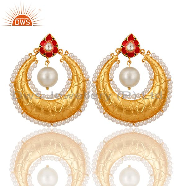Crystal Polki and White Pearl 18K gold Plated Sterling Silver Enamel Earring