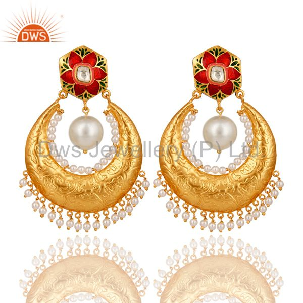 Crystal Quartz Polki and Pearl 18K Gold Plated Sterling Silver Enamel Earring