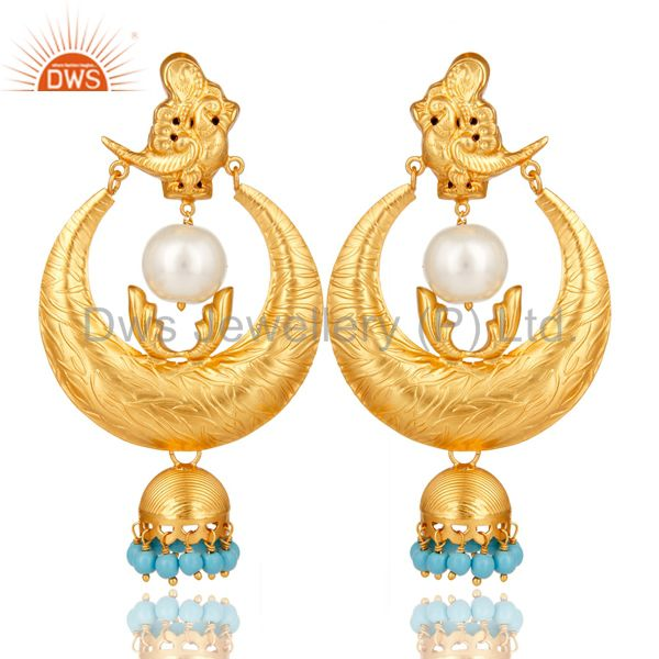 18K Gold Plated Sterling Silver White Pearl and Turquoise Temple Jewelry Earring