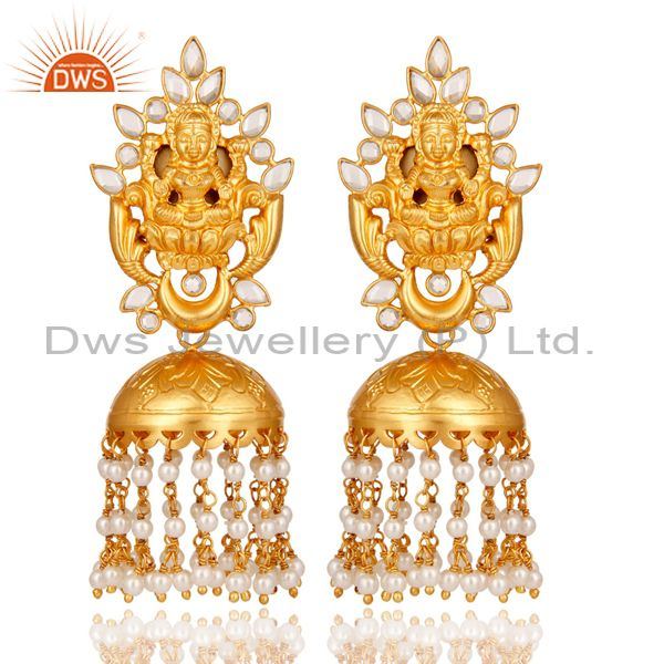 18K Gold Plated Sterling Silver Pearl and CZ Temple Jewelry Earring Jhumki