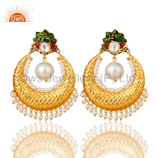 Pearl and Crystal Quartz Sterling Silver Gold Plated Enamel Earring