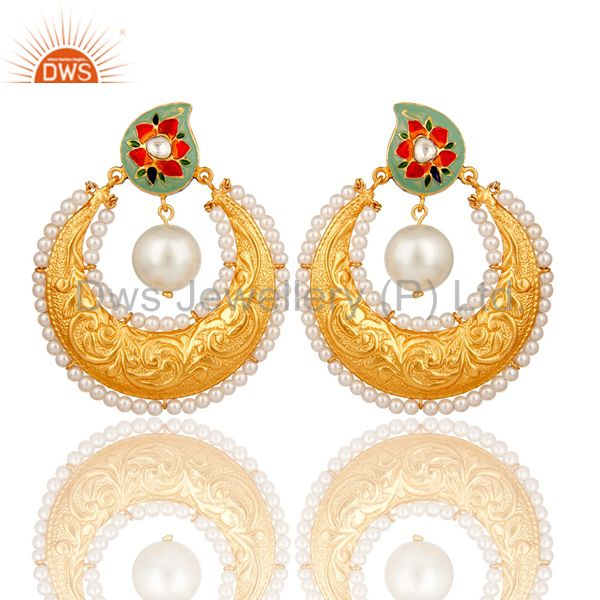 18K Gold Plated Sterling Silver Crystal Polki and Pearl Enamel Earring