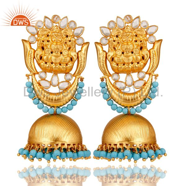 18K Gold Plated Sterling Silver Temple Jewelry Turquoise and CZ Earring Jhumka