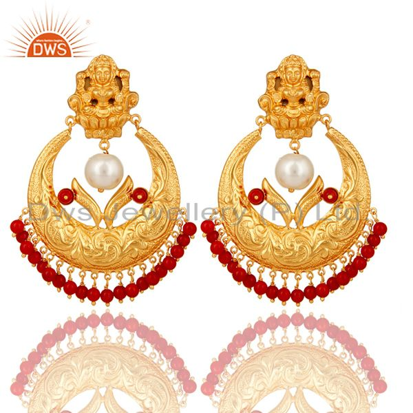 Coral and Pearl Beads 18K Gold Plated 925 Silver Temple Jewelry Jhumka Earring