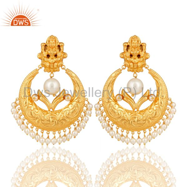 Pearl Beads 18K Gold Plated 925 Silver Temple Jewelry Jhumka Earring
