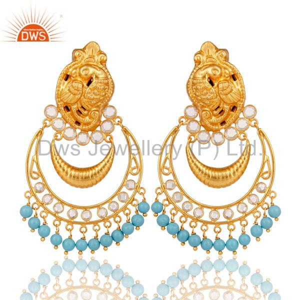 Turquoise and CZ 18K Gold Plated Sterling Silver Jhumka Earring Temple Jewelry