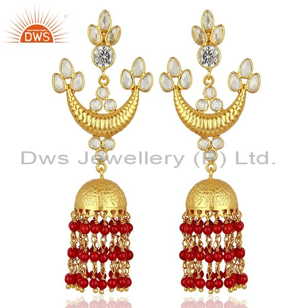 CZ and Coral Gemstone Gold Plated Silver Traditional Earrings Supplier