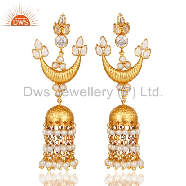 White CZ and Pearl 18K Gold Plated Sterling Silver Traditional jhumka Earring
