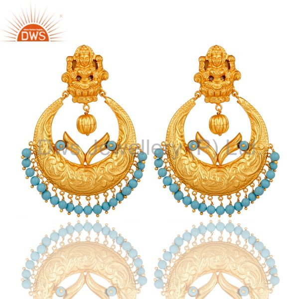 Cultured Turquoise 18K Gold Plated Sterling Silver Temple Jewelry Earring