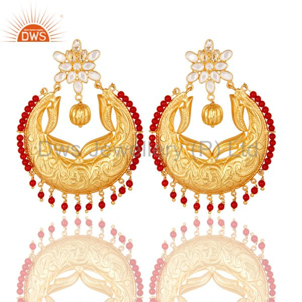 Coral & White Zircon 18K Gold Plated Sterling Silver Temple Jewelry Earrings
