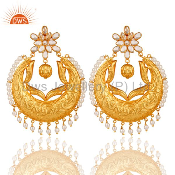 Pearl and Cubic Zircon Sterling Silver 18K Gold Plated Chand Bali Earring