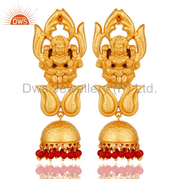 Cultured Coral and 18K Gold Plated Sterling Silver Jhumka Earring Temple Jewelry