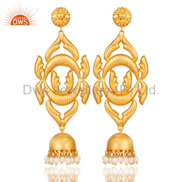18K Gold Plated Sterling Silver Traditional Design Jhumka Earring With Pearl