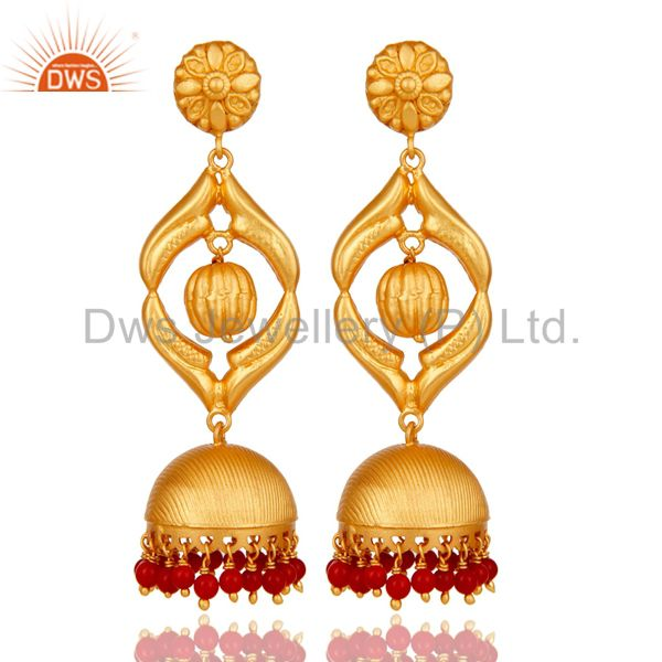 Cultured Coral Traditional Jhumka Earring 18K Gold Plated Sterling Silver Jhumki