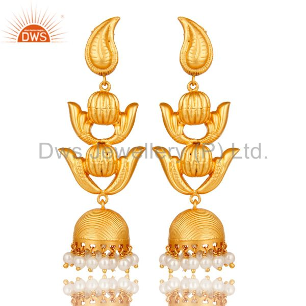 Traditional Jhumka Earring with 18K Gold Plated Sterling Silver and Pearl