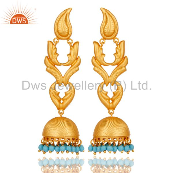 Traditional 18k Gold Plated Jhumka Earrings With Turquoise