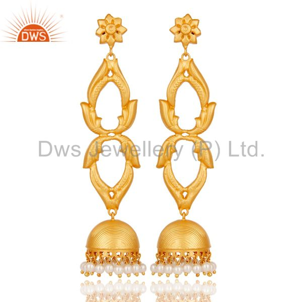 18K Gold Plated Sterling Silver and Pearl Traditional Jhumka Earrings