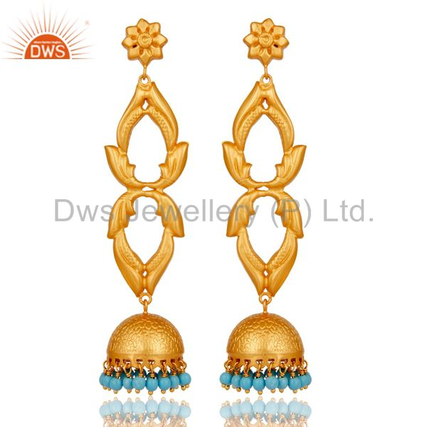 18K Gold Plated Sterling Silver Cultured Turquoise Jhumka Earrings Jewellery