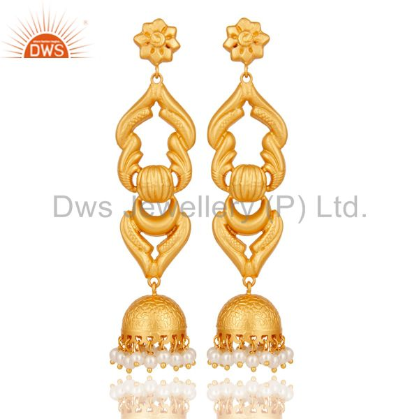 18K Gold Plated Sterling Silver With Pearl Traditional Design Jhumka Earrings
