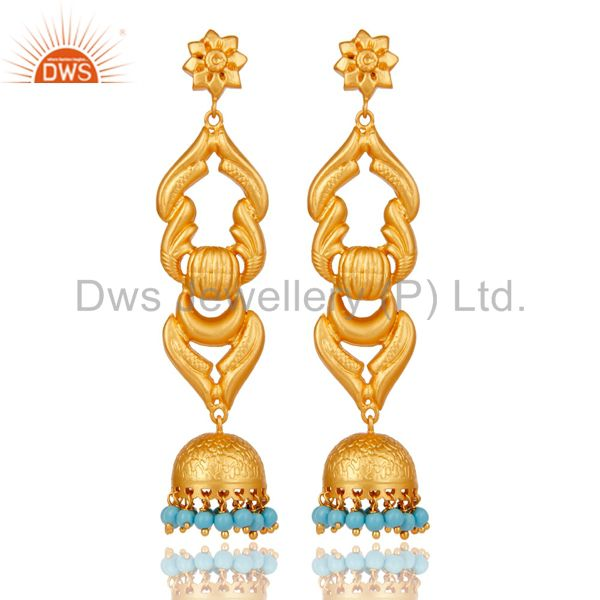 18K Gold Plated Traditional Jhumka Earrings With Sterling Silver and Turquoise