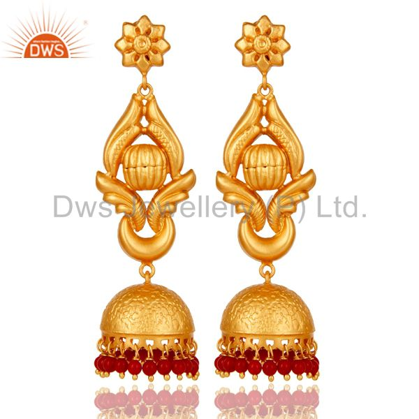 18K Gold Plated Traditional Jhumka Earrings With 925 Sterling Silver and Coral