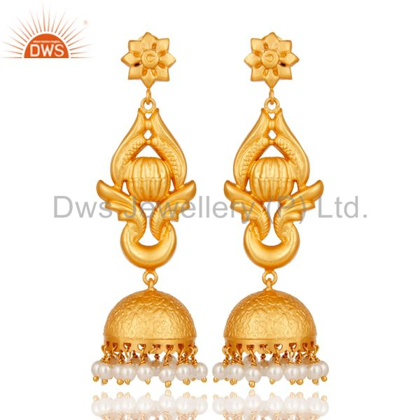 18K Gold Plated Traditional Jhumka Earrings With 925 Sterling Silver and Pearl