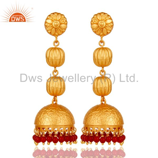 Tradional Coral Jhumka Earrings With 18K Gold Plated With Sterling Silver
