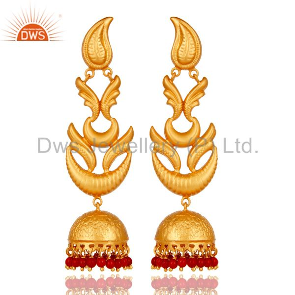Tradional Coral Jhumka Earrings With 18K Gold Plated With 925 Sterling Silver