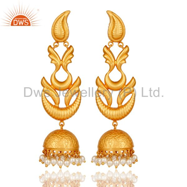 Handmade Pearl Jhumka Earrings With 18K Gold Plated With 925 Sterling Silver