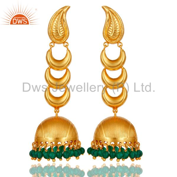 18k Gold Plated Traditional Jhumka Earrings With Sterling Silver & Green Onyx