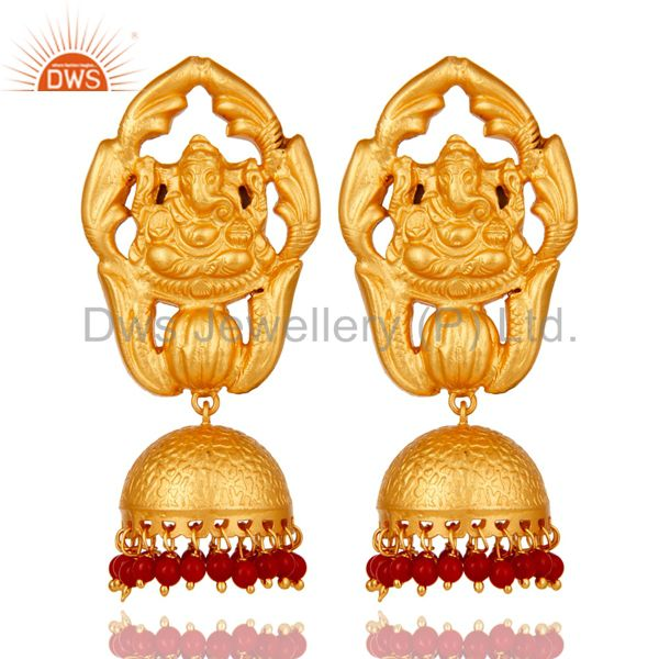 Traditional Jhumka Earrings 18k Gold Plated Sterling Silver Coral Ganesha Design