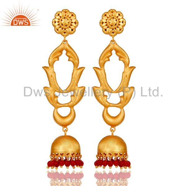 Coral Traditional Jhumka Earrings 18k Gold Plated Sterling Silver Ganesha
