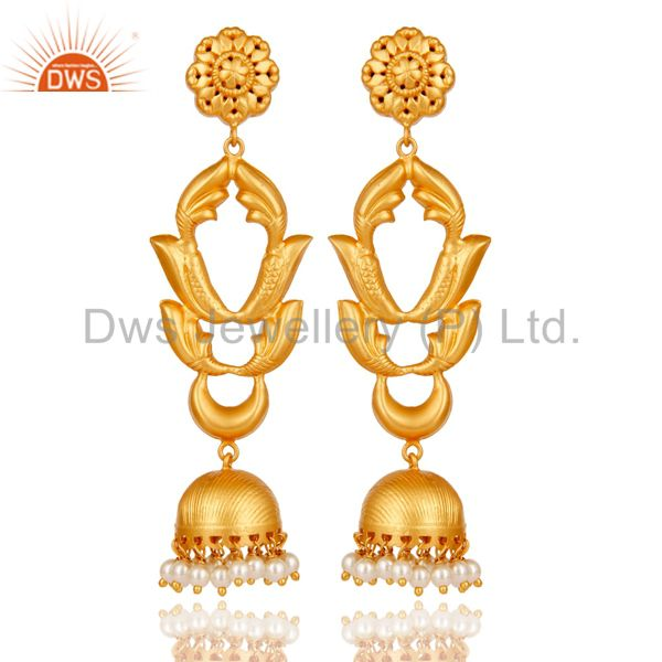 Pearl Traditional Jhumka Earrings 18k Gold Plated Sterling Silver Ganesha