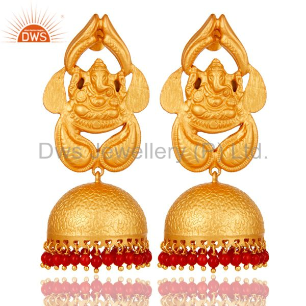 Coral Traditional Jhumka Earrings 18k Gold Plated Sterling Silver Ganesh design