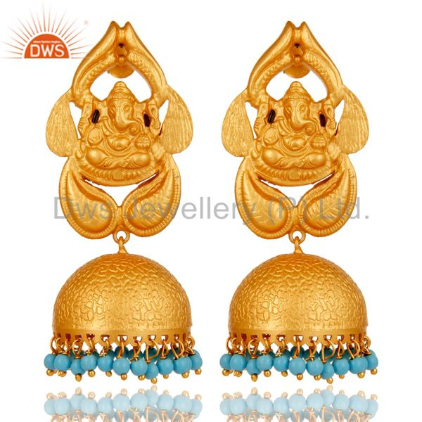 18K Gold Plated Sterling Silver God Ganesh Design Jhumka Earrings With Turquoise