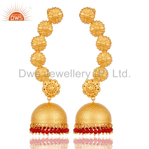 18K Gold Plated 925 Sterling Silver Red Coral Traditional Ear Cuff Jewelry